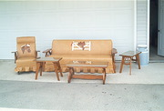 VINTAGE WESTERN WAGON WHEEL FURNITURE -COUCH,  ROCKING CHAIR,  3 TABLES